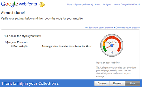 Add fonts from Google Web font directory