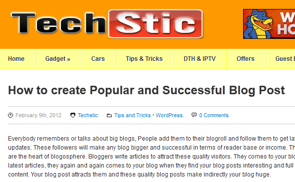 Successful Blog Post