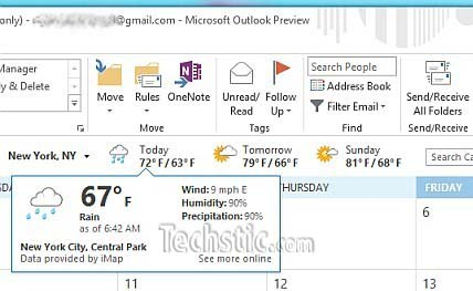 Outlook 2013 weather bar