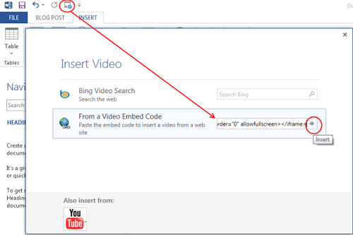 Embed Video In WordPress Word 2013