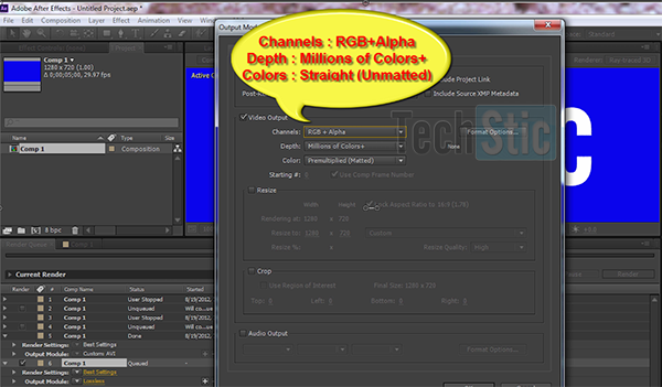Export Transparent Video in After Effect CS6