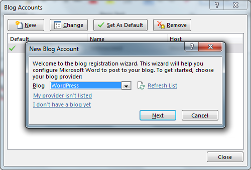 Register Blog Account Word 2013