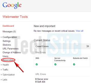 Webmaster tool Associate Configuration