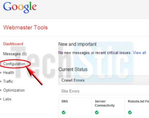 Webmaster tool Configuration
