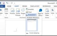 Microsoft Word 2013 Built-in Screenshot Tool